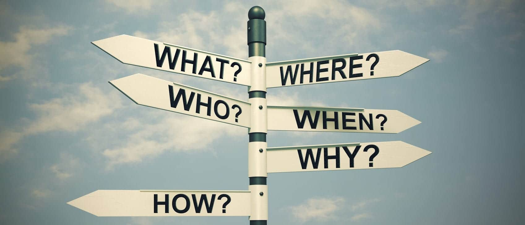 What, Where, Who, Why, When, How-written with Direction board